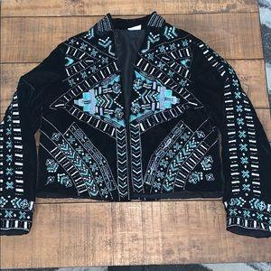 Crazy train velvet embellished blazer